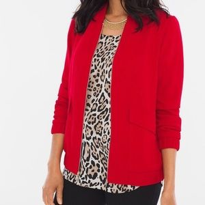 Chico's Red Crepe Bomber Jacket Size 2 (Large)